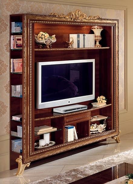 Porta tv con libreria con decori dorati, semplice e