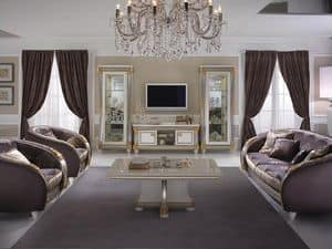 Liberty mobile tv, Mobile porta tv in legno, in stile Liberty, per soggiorno classico