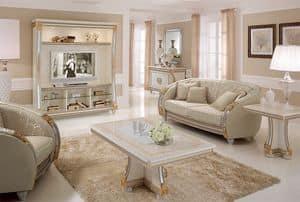 Liberty parete tv, Parete tv dalle linee classiche, ideale per arredare salotti lussuosi, con dettagli in foglia oro