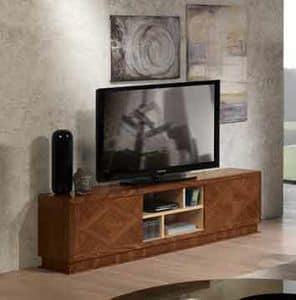 MB55 Desyo mobile TV, Porta tv in legno intarsiato, per salotti classici