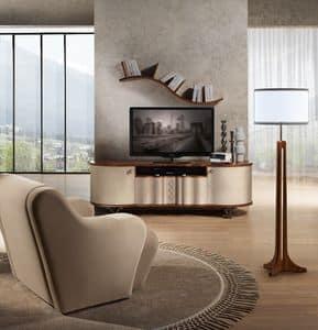 MB57 Mistral mobile TV, Porta tv in legno rivestito in pelle, piedini in acciaio