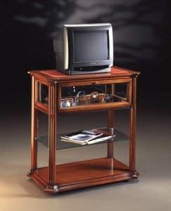 Oxford Art.510 carrello porta TV, Porta tv con ruote, in noce lavorato a mano