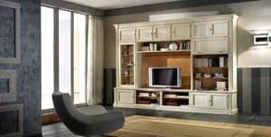 R 11, Mobile porta tv, laccato, con mensole e armadietti