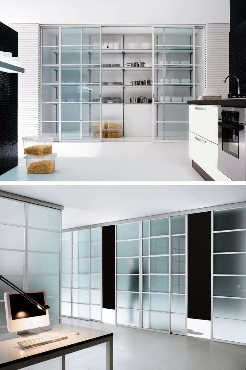 Cucina Con Vetrata Scorrevole porta scorrevole con binario a pavimento | idfdesign