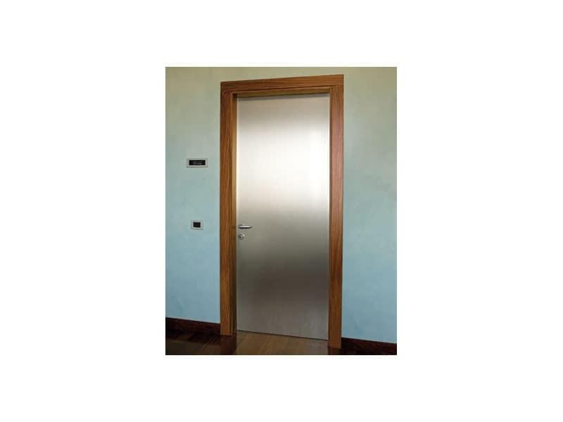 Gallery, Porta in alluminio satinato, telaio in palissandro, per uso residenziale e contract