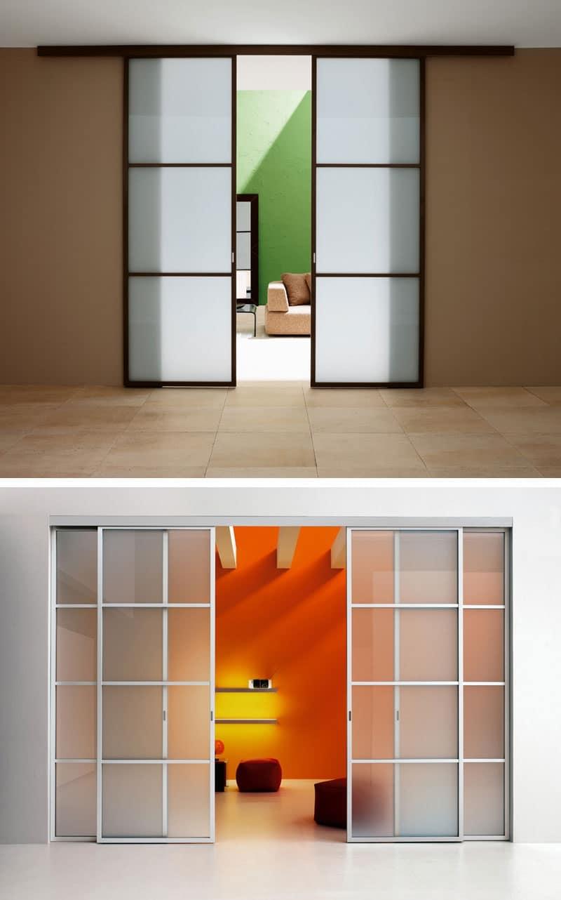 Cucina Con Vetrata Scorrevole porta scorrevole con binario, ante in vetro colorato | idfdesign