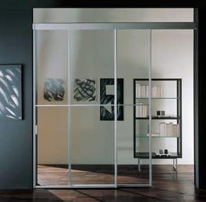 p100 caracas, Porta scorrevole in alluminio, per hall di albergo