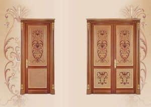 P108 Porta, Porta in legno intarsiato, in stile classico di lusso