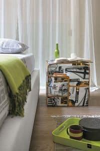 CITYMAP PF607, Pouf in tessuto con stampa a tema citt�, con tasche