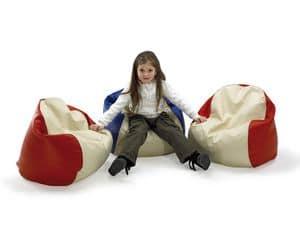 PALLINO, Poltrona sacco per bambini, ricoperta in similpelle, per camera dei bambini e asilo