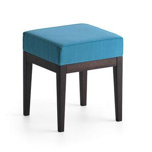 Pouf 01314, Pouf quadrato in legno massiccio, seduta imbottita, copertura in tessuto, per bar e camere d'albergo