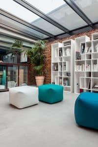 TRULY, Pouf moderno per salotto, pouf ecopelle casa