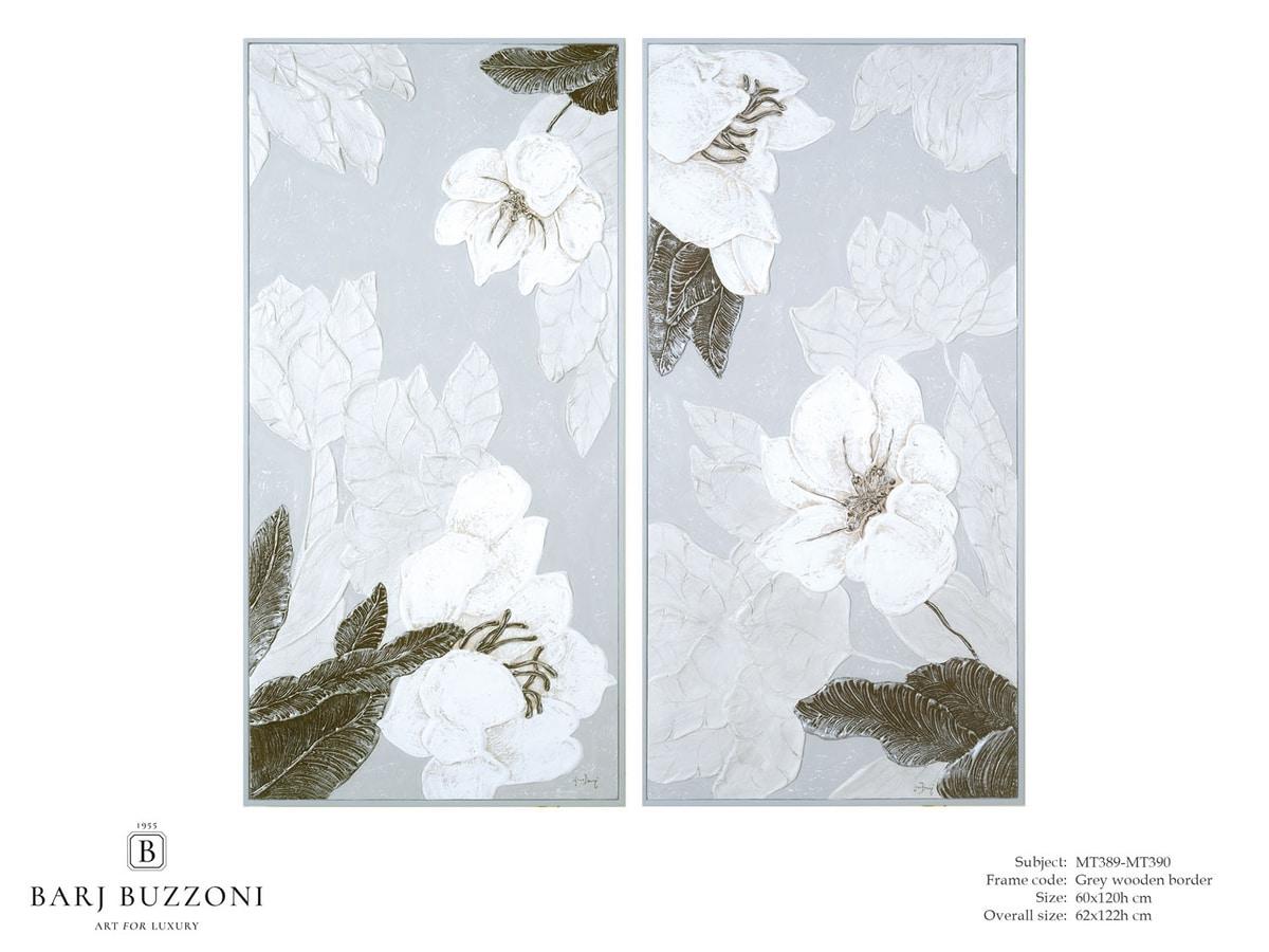 Delicate flowers I-II – MT 389-390, Quadro floreale effetto basso rilievo