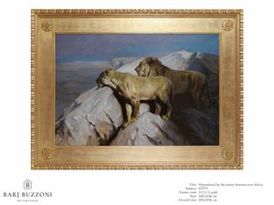 Hypnotized by the starry horizon over the Africa � H 3773, Dipinto ad olio con leoni