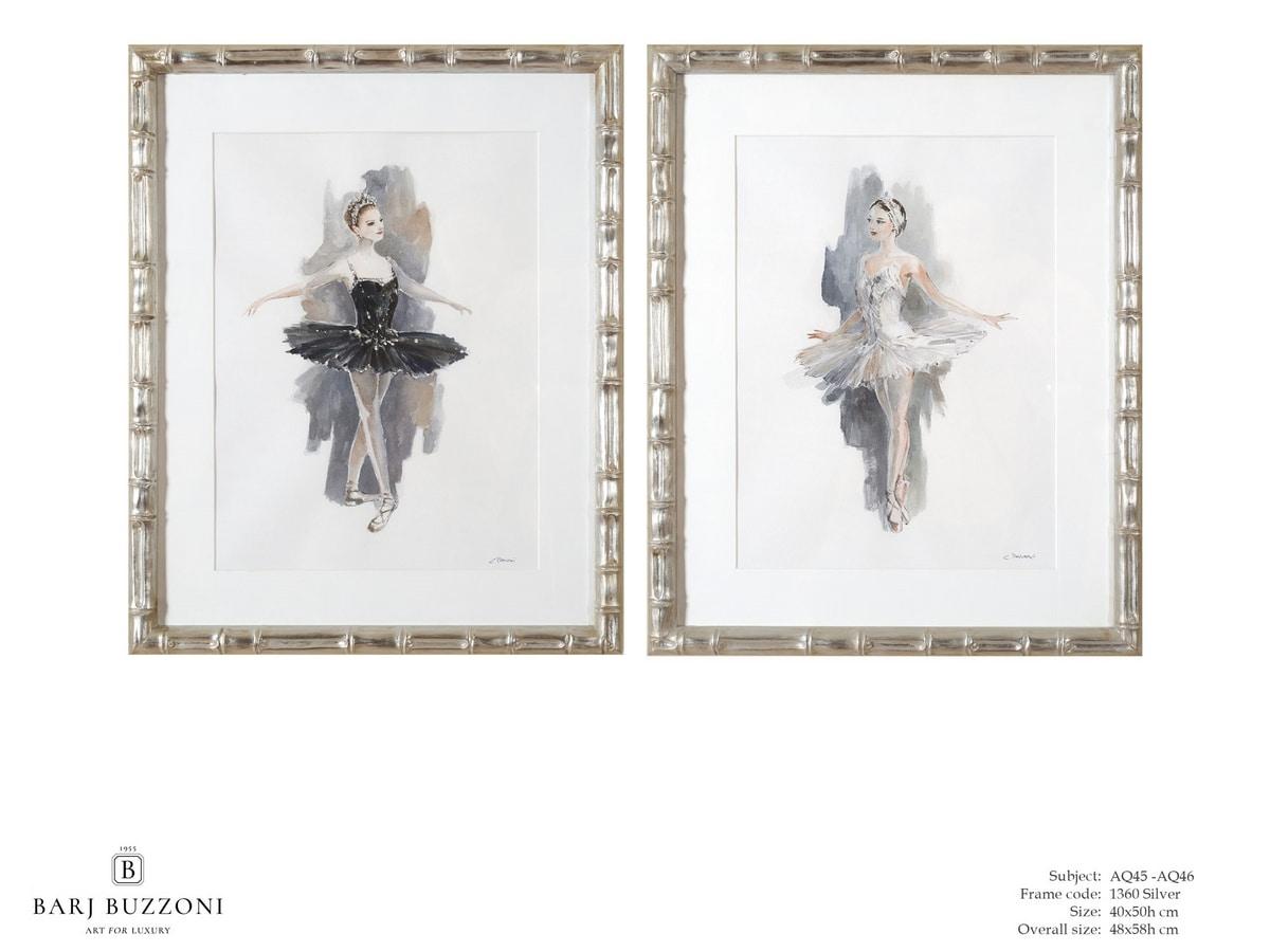 L'Etoile - The ballet dancer - AQ45 - AQ46, Dipinto acquerello con ballerina