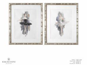 L�Etoile - The ballet dancer - AQ45 - AQ46, Dipinto acquerello con ballerina