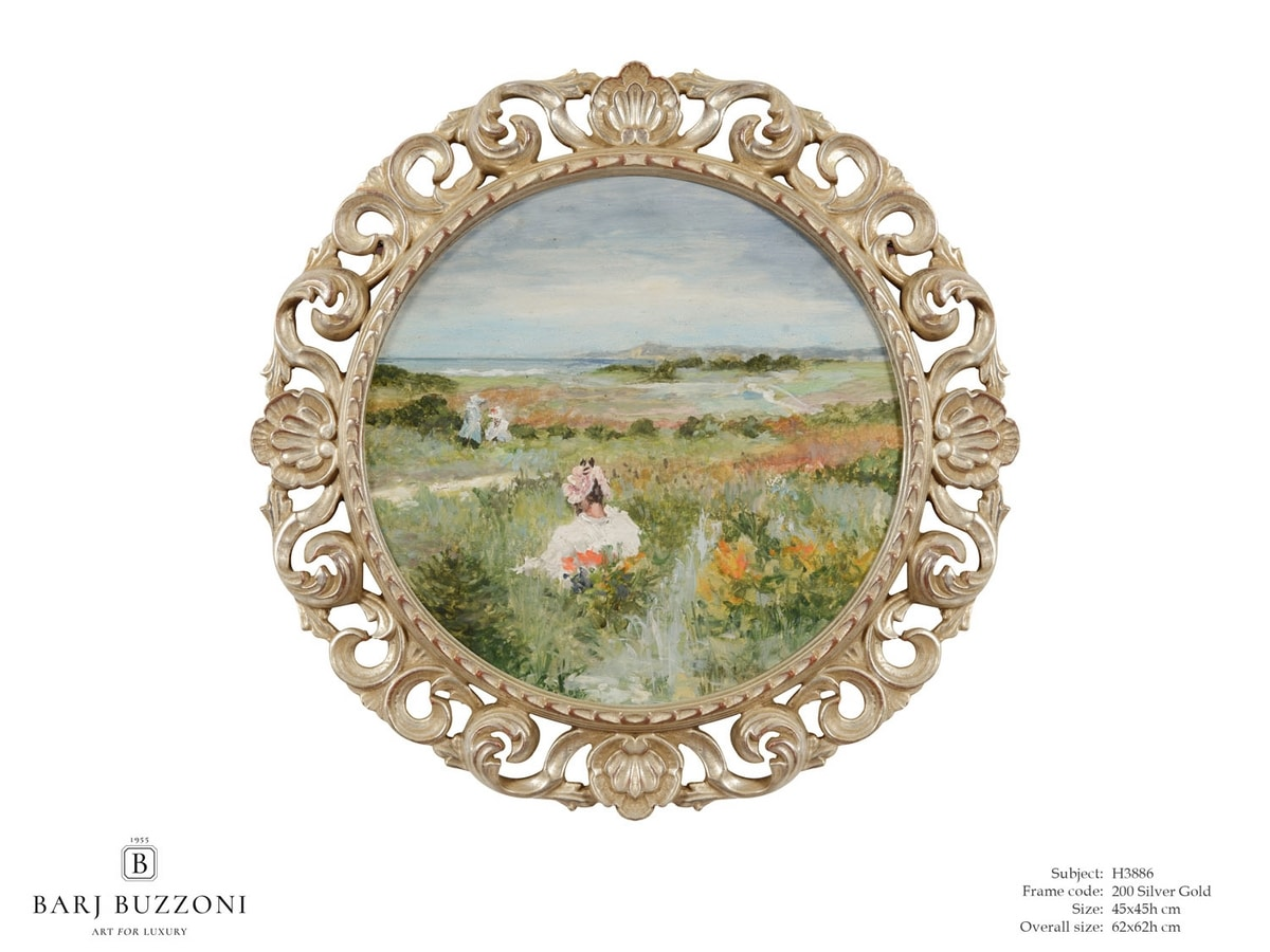 Lady immersed into nature sound – H 3886, Dipinto tondo ad olio