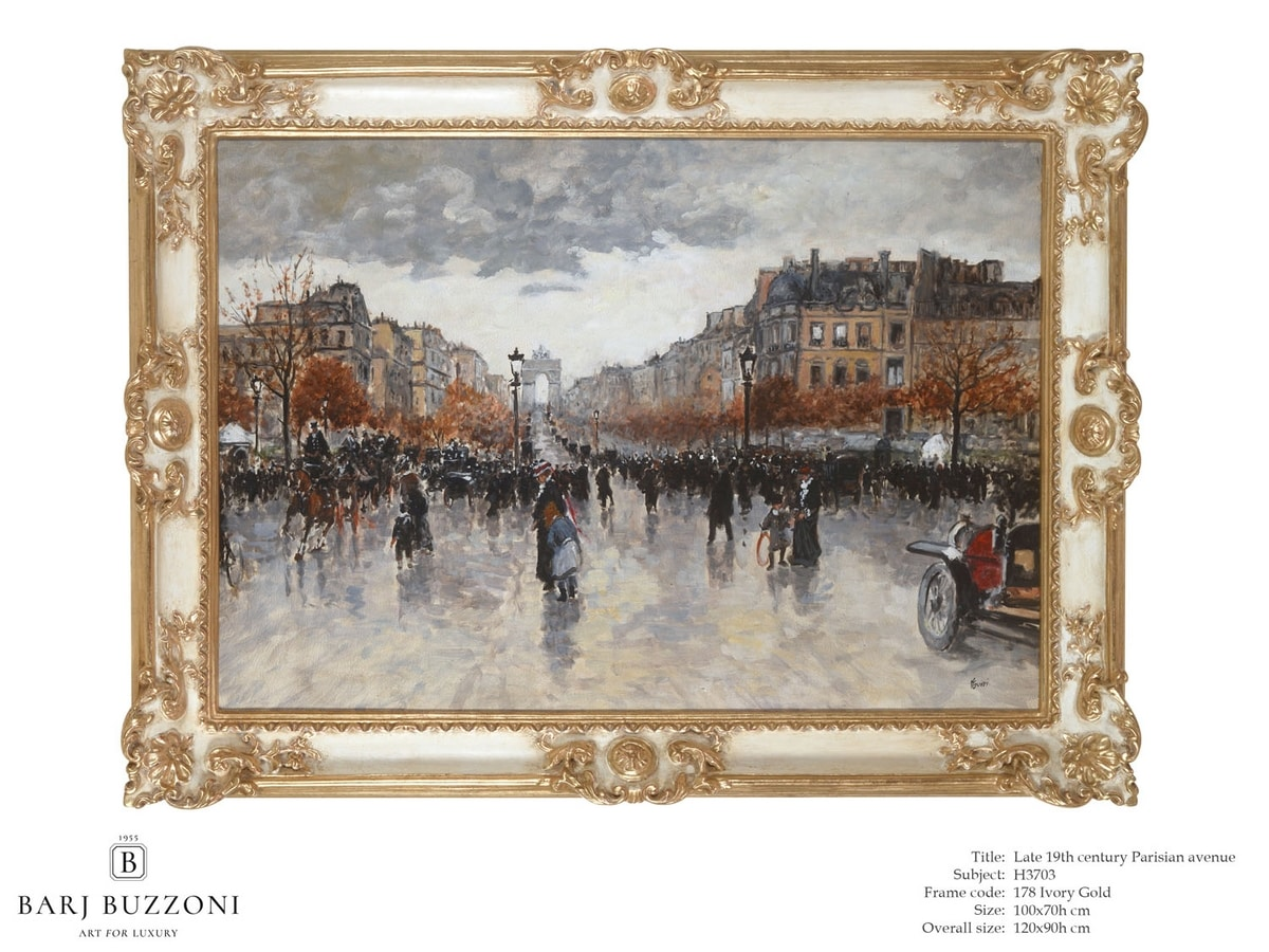 Late 19th Century, parisian Avenue – H 3703, Quadro dipinto ad olio