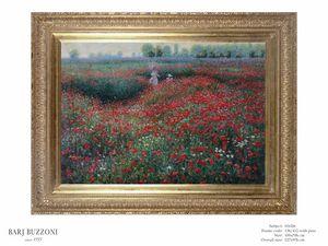 Promenade in the poppies field � H 1026, Dipinto ad olio con papaveri