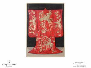 Red Kimono, the tradition of Kyoto - MT618, Quadro con decori in foglia oro