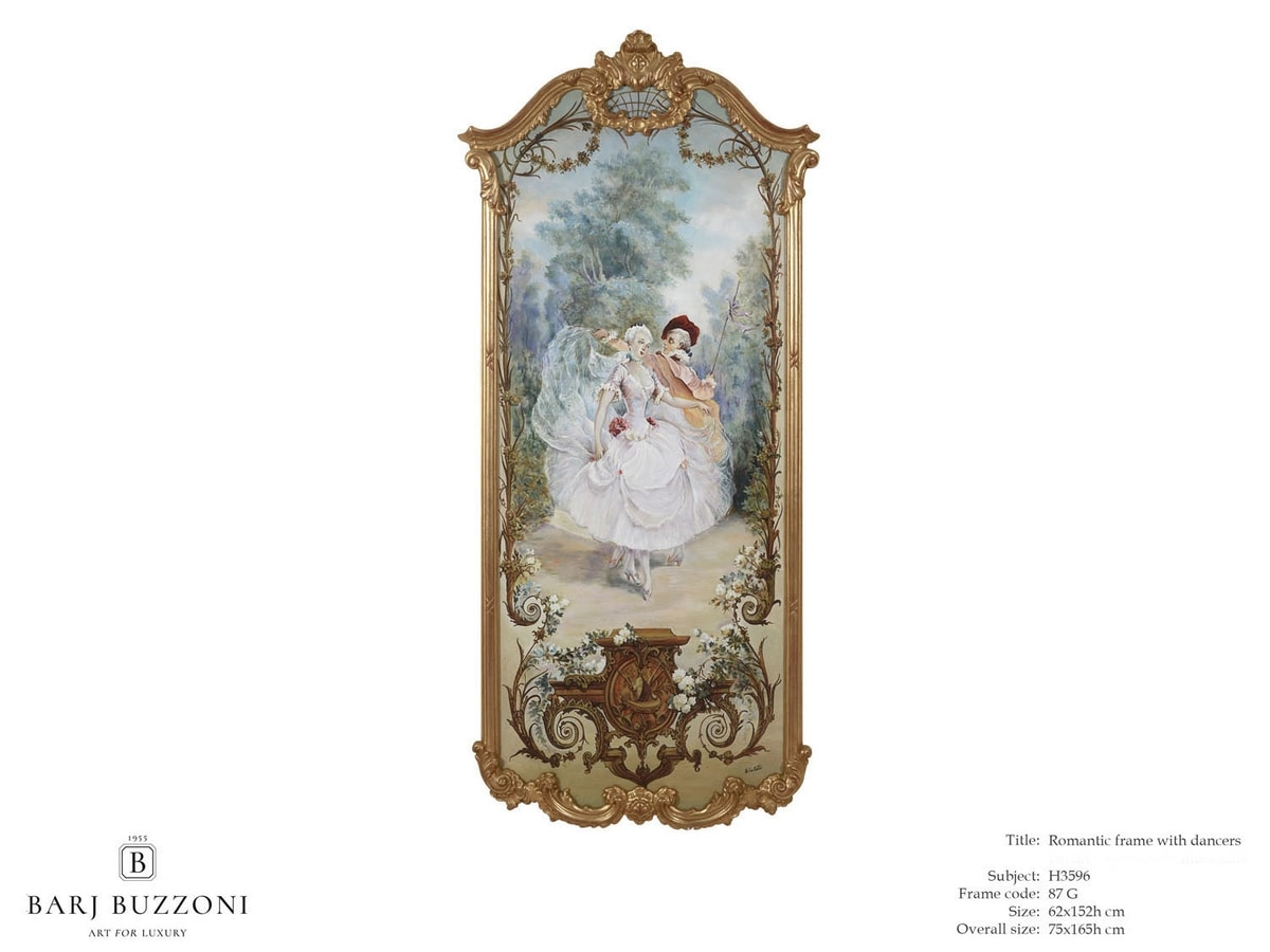 Romantic frame with dancers – H 3596, Dipinto classico ad olio su tela