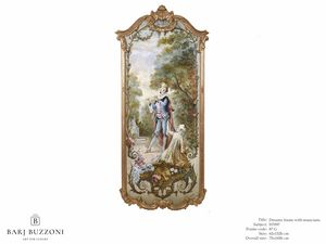 Romantic frame with musician – H 3597, Dipinto ad olio in stile classico