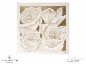Roses, golden dream � MT 491, Quadro con rose, effetto basso rilievo