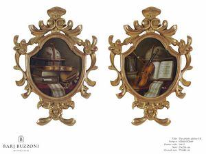 The artist atelier I-II � H 2648-2649, Opera d'arte con cornice in legno intagliata a mano