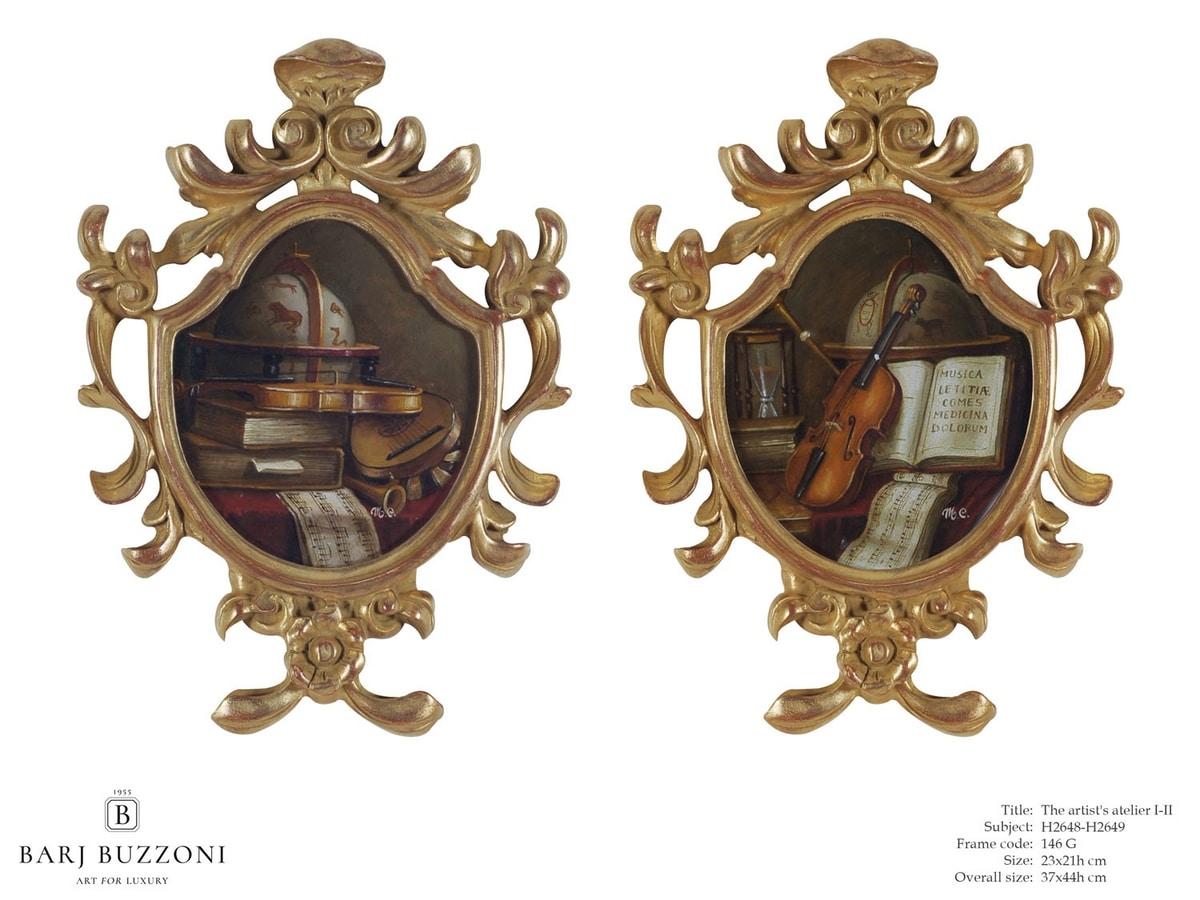 The artist atelier I-II – H 2648-2649, Opera d'arte con cornice in legno intagliata a mano