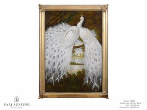 White peacocks dreaming – H 2326, Dipinto ad olio con pavoni bianchi