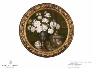 White roses for the Sunday dining – H 3213, Quadro tondo, con rose bianche