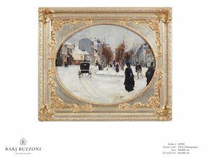 Winter�s day � H 3951, Dipinto ad olio con cornice decorativa