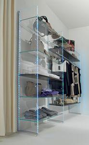 Glassystem COM/GS10, Scaffalatura in vetro con luci LED