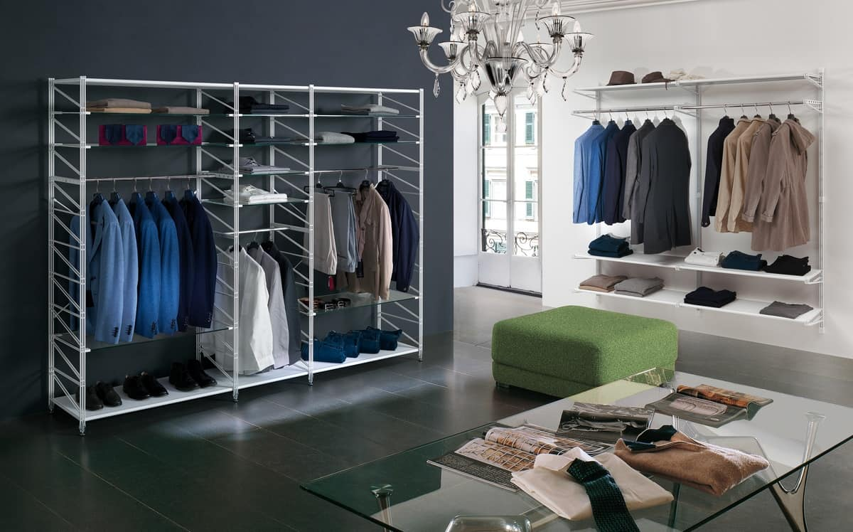 Socrate negozi abbigliamento, Scaffali modulari per negozi, varie acessori e finiture