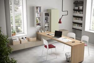 Domino scrittoio, Scrittoio in legno,  larghezza personalizzabile al centimetro