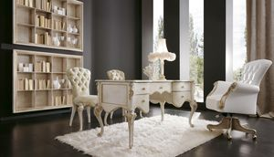 Botero scrivania, Scrivania classica in legno bianco perla
