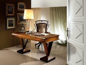SC17 Libro scrivania, Scrivania in legno, piano a forma di libro, stile classico