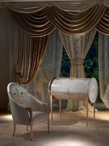 SC21 Vanity scrivania, Scrittoio classico in legno di tiglio con intarsi in �rable