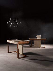 SC27 Desyo scrivania, Scrittoio in noce, con maniglie in acciaio bronzato