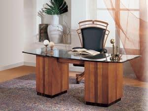 SO24 scrivania, Scrivania con piano in cristallo, rosoni intarsiati in ciliegio