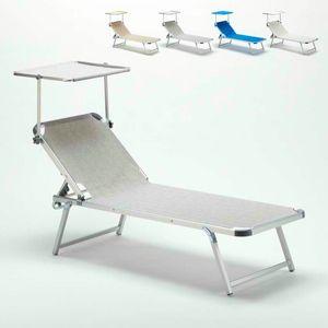 Lettino Prendisole in Alluminio da Spiaggia con Tettuccio Regolabile NETTUNO - NE800TEX, Lettino per spiaggia con tettuccio regolabile