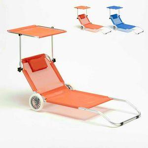 Lettino spiaggia mare in alluminio con ruote richiudibile BANANA - BA600LUXAR, Sdraio portatile in alluminio