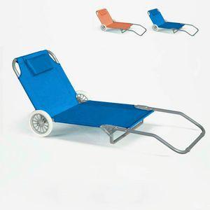 Lettino spiaggia mare portatile acciaio con ruote brandina BANANA - BA600OXFAZ, Sdraio portatile con ruote