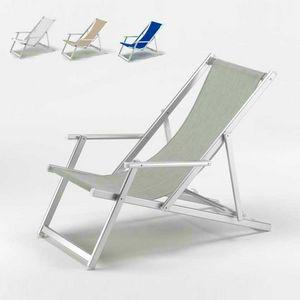 Sedia sdraio stabilimento balneare Riccione � RI800LUX, Sdraio con braccioli e schienale reclinabile, antistrappo