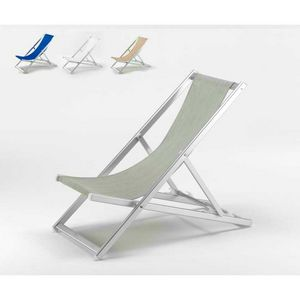 Sdraio mare prendisole alluminio Riccione - RI800TEX, Sdraio richiudibile con schienale reclinabile, lavabile