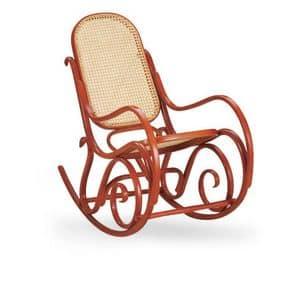Dondolo, Sedia a dondolo in legno, schienale e seduta in canna