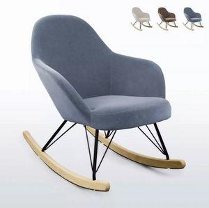 Sedia a dondolo design moderno Eiffel ROCKing in velluto SD009, Sedia a dondolo imbottita
