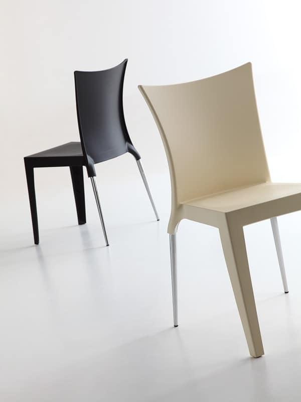 Jo, Elegante sedia design, scocca in polipropilene, sia per uso interno che esterno