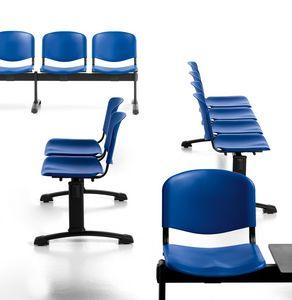 Leo Plastic Bench, Panche attesa con sedute e schienali in polipropilene