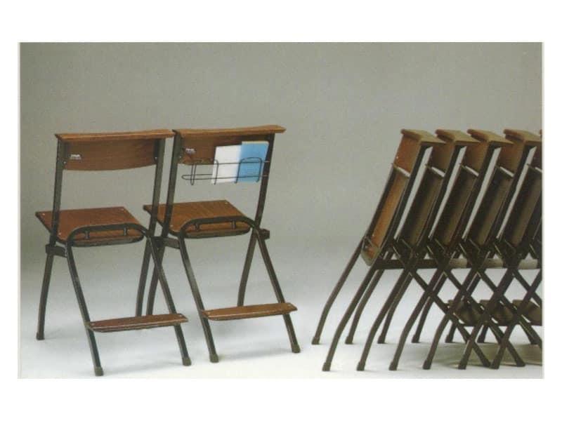 1273 R, Sedute in metallo, con seduta e schienale in faggio, per chiese
